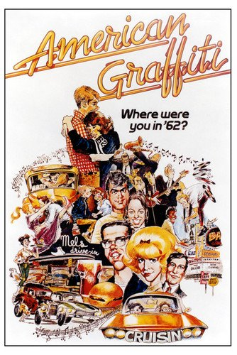 (American Graffiti Classic Movie Poster Art Ron Howard Harrison Ford Candy Clark Paul Le Mat 24x36 Poster )