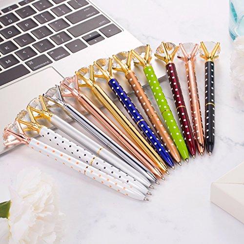 Bememo 12 Pieces Big Diamond Pen Rhinestones Crystal Metal Ballpoint Pens Black Ink (Multicolor) Photo #7
