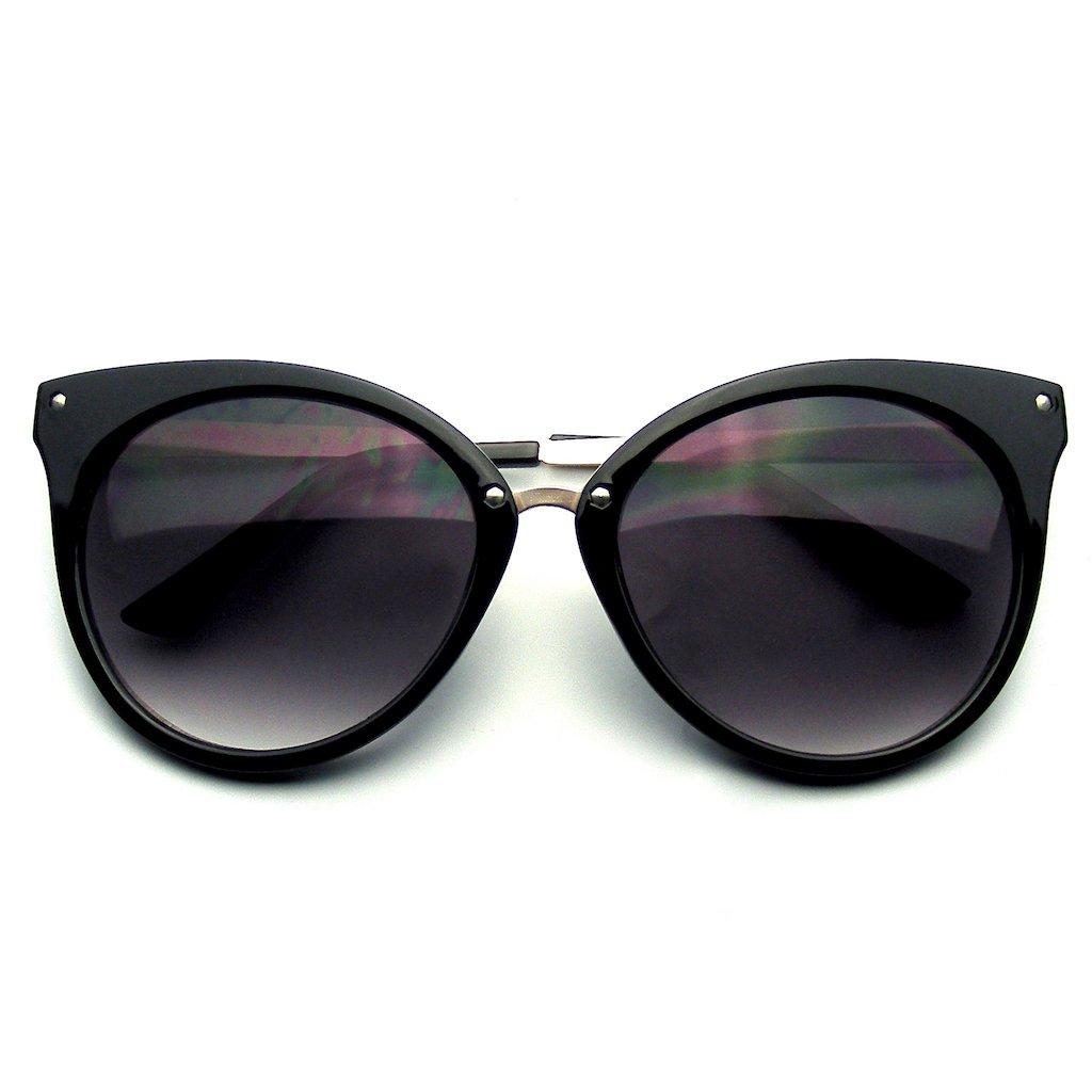 Emblem Eyewear Cerchiati Di Corno Aguzzo Indie Retro Gatto Occhio Occhiali Da Sole Borchie Metallo (Crema) xYre7