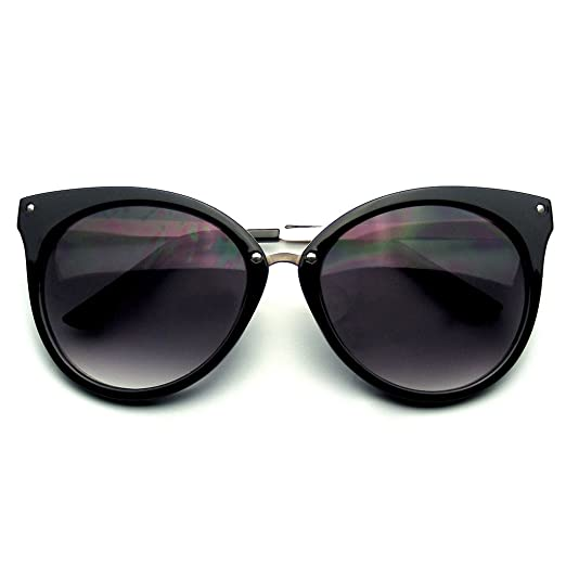 c4753606364c9 Amazon.com  Pointed Horn Rimmed Indie Retro Cat Eye Sunglasses Metal ...