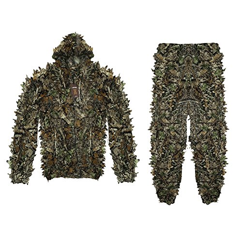 antWalking 3D Leafy Leaves Camouflage Clothing Outdoor Jungle Woodland Hunting Camo Ghillie Suit - Woodlands In The Mall
