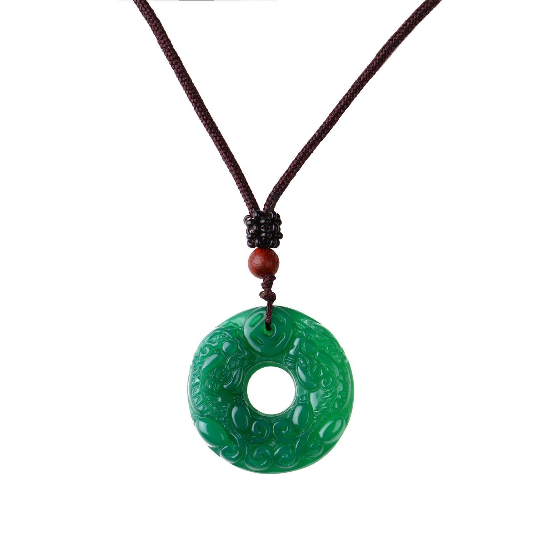 Collar con colgante de ágata verde con cordón ajustable, collar tibetano curativo redondo para hombres y mujeres Mayting