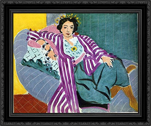 Small Odalisque in Purple Robe 20x20 Black Ornate Wood Framed Canvas Art by Matisse, Henri
