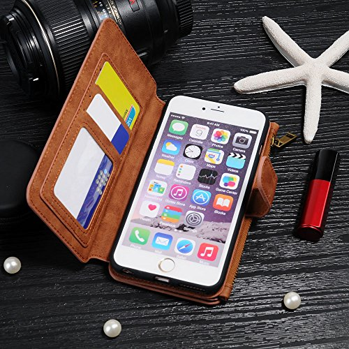 iPhone 6 Plus Case, iNNEXT Genuine PU Leather Wallet Case Cover with...