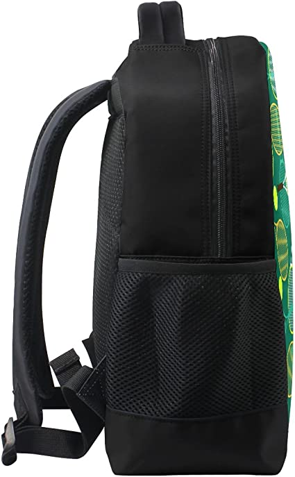Colorful Racket Tennis Ball Backpack 14 Inch Laptop Daypack Bookbag for Travel College School