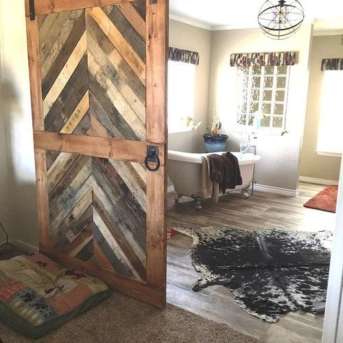 Amazon Reclaimed Wood Chevron Sliding Barn Door Handmade