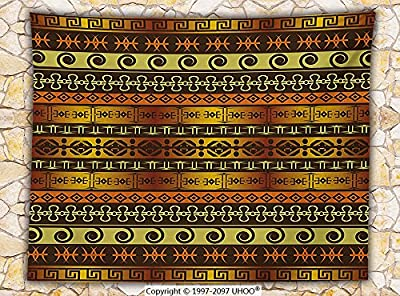 Primitive Decor Fleece Throw Blanket African Indigenous Motifs with Ethnic Ornaments Traditional Tribal Figures Print Throw Brown Yellow