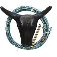 Kids Roping Practice Steer Head Dummy Lariat Rope Set Hay Spikes Blue