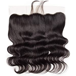 13x4 Full Lace Frontal Closure Body Wave Human Hair Ear To Ear Free Part 8A Unprocessed Brazilian Virgin Hair Natural Black Color no Bleached Knots (10 inch)