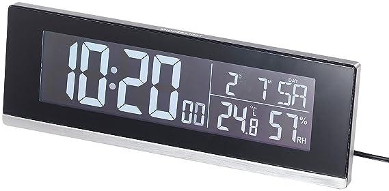 infactory Tischuhr: Tisch-Funkwecker mit Thermometer, Hygrometer und USB-Ladebuchse, 2 A (Tisch Funk Wecker)