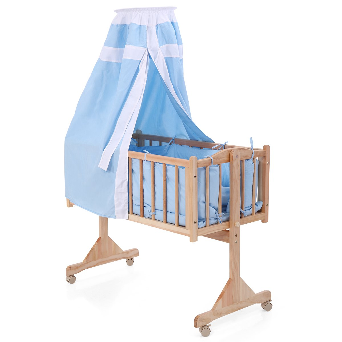 JAXPETY Wood Baby Cradle Rocking Crib Bassinet Bed Sleeper Portable Nursery Blue