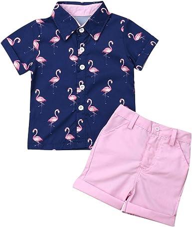 Carolilly Juego completo de ropa para niño, 2 piezas, camisas de verano con impresión floral + pantalones cortos para niño de playa