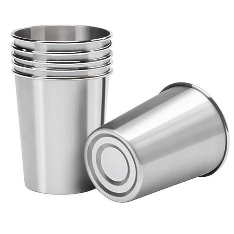 Amazon.com: Vasos de acero inoxidable Ruisita, 6 unidades, 8 ...
