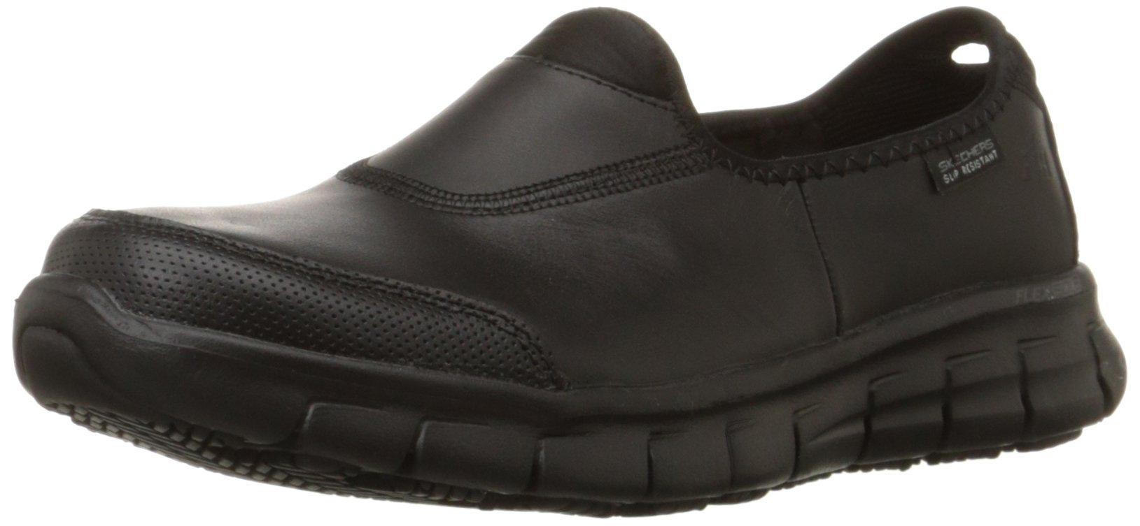 Skechers for Work Women's Sure Track Slip Resistant Shoe, Black, 8.5 M US