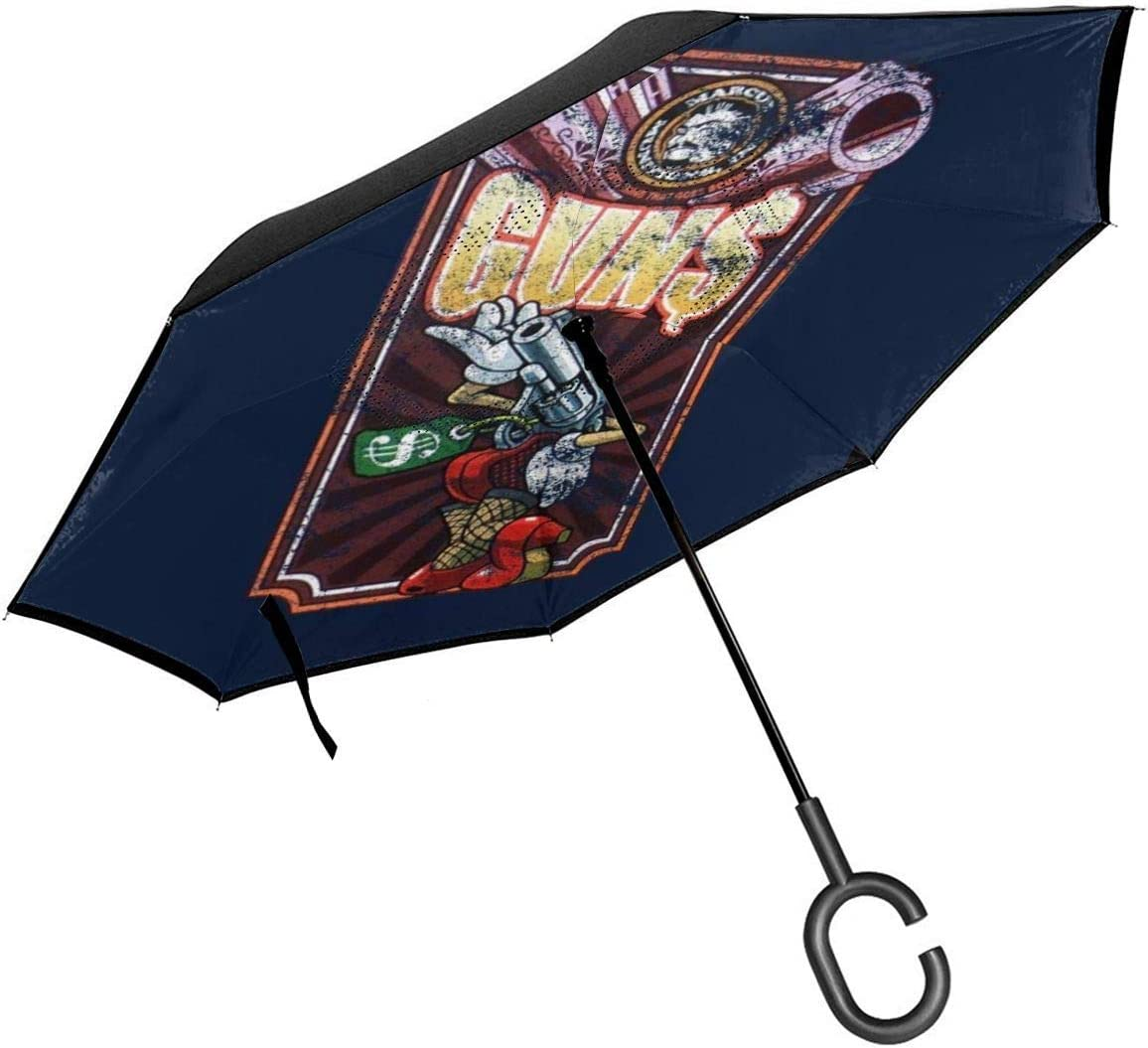 Borderlands Marcus Munitions - Máquina expendedora de pistola de doble capa invertida paraguas para coche, plegable al revés, manos en forma de C, ligero y resistente al viento, regalo ideal