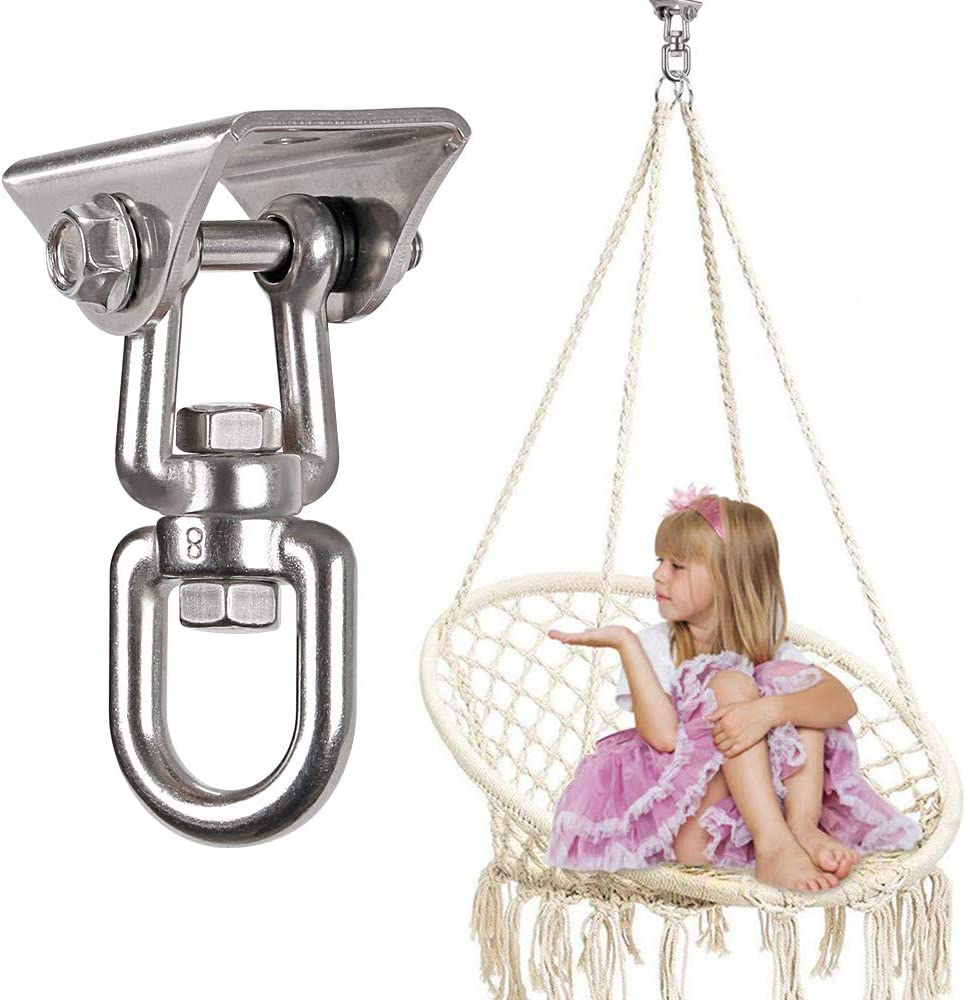 Stainless Steel Swing Hook for Ceiling Wooden Porch Swing Hanging kit Playground Gym Rope Boxing Bag Hammock Chair Yoga Swing Mount 1000 lb Capacity waremaid Heavy Duty 360/° Swivel Swing Hangers