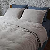LinenMe Stone Washed Bed Linen Duvet Cover, 104 by 86-Inch, Taupe