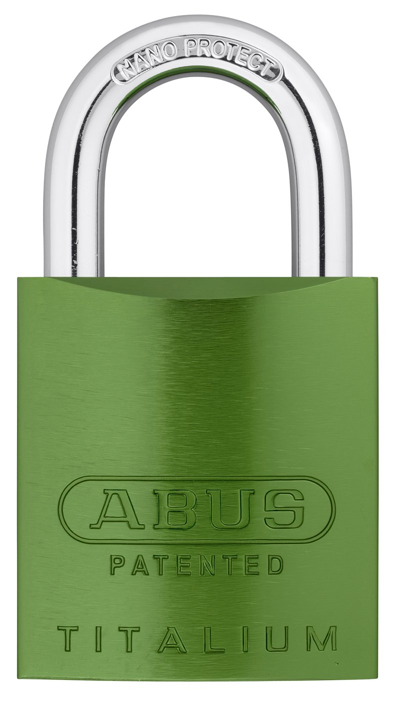 ABUS 83AL/45-300 S2 Schlage Rekeyable Padlock Aluminum Body with 1-Inch Shackle, Green Zero-Bitted