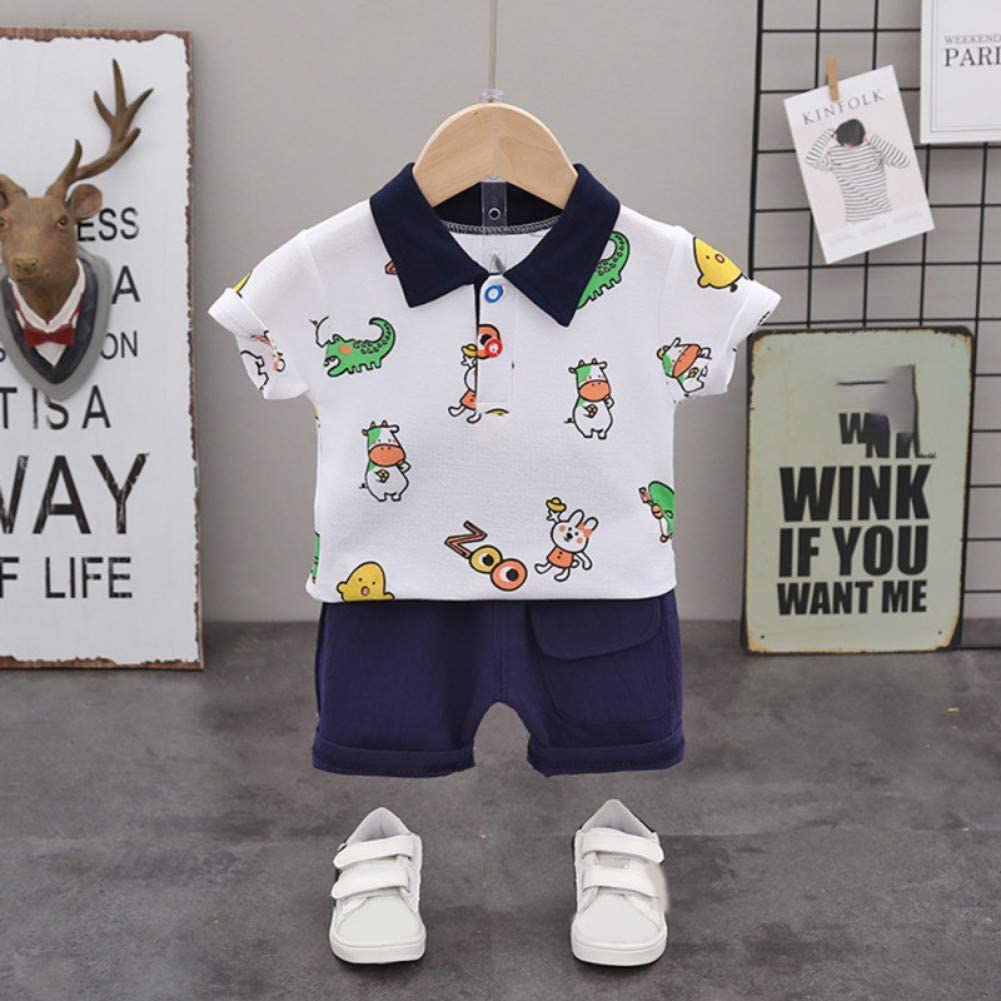 Shorts boy Sets Summer Animal Pattern Print Lapel Short Sleeve Short Suit 1-5 Years Gyratedream T-Shirts