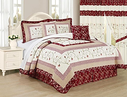 All American Collection New 6pc Georgia Embroidered Bedspread/Quilt Set (Queen 6pc) (Curtains Matching Bedding)