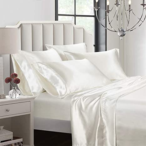 1 Piece Satin Fitted Sheet Only Classic Luxury Silky Soft Bed Sheets Solid Color White, Queen