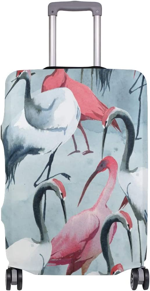 Travel Luggage Cover Pink Grey Paint Crane Pattern Suitcase Protector