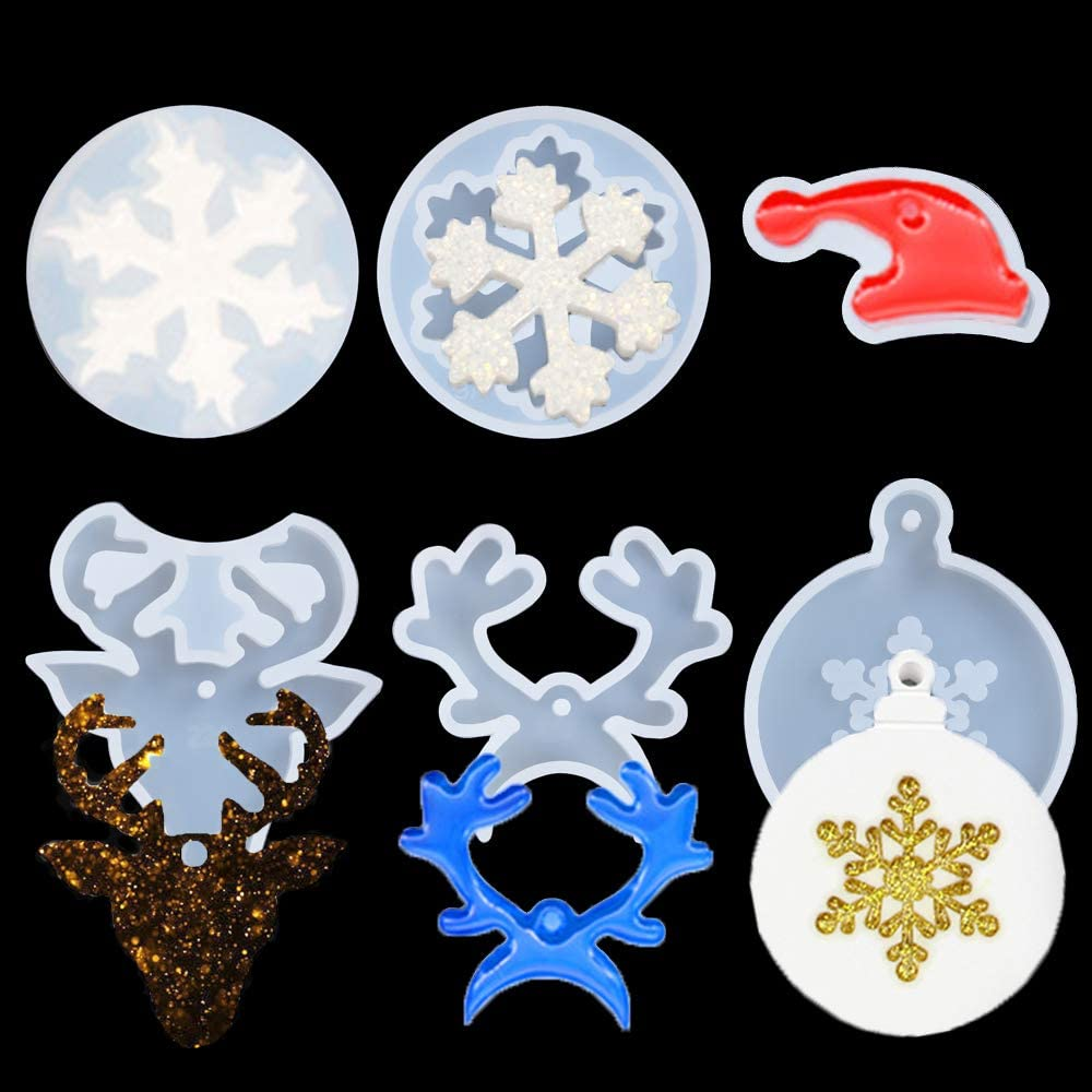 Xmas Tree Bell Pendant Snow Ball Resin Casting Mold Christmas Ornament Epoxy Silicone Crystal Mould Jewelry Making Tools 7