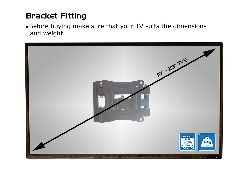 Soporte de Pared para televisores de 10 a 29 Pulgadas, con inclinación de -5 °/+15 °, con Pantalla LED LCD de Plasma 3D VESA 100 x 100 o 75 x 75 Pulgadas: ...