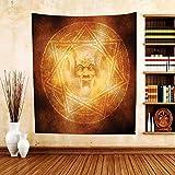 Gzhihine Custom tapestry Horror House Decor Tapestry Demon Trap Symbol Logo Ceremony Creepy Ritual Fantasy Paranormal Design for Bedroom Living Room Dorm Orange
