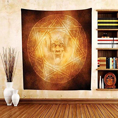 Gzhihine Custom tapestry Horror House Decor Tapestry Demon Trap Symbol Logo Ceremony Creepy Ritual Fantasy Paranormal Design for Bedroom Living Room Dorm Orange by Gzhihine
