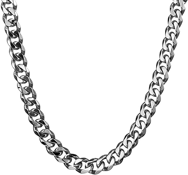 Hip Hop Cuban Link Miami Chain Silver Tone Stainless Steel Rapper Necklaces Male Jewelry 15//17//19Mm With Tail