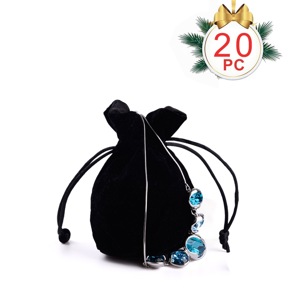 Oirlv 20Pcs Velvet Drawstring Jewelry Packing Pouches Christmas Favor Gift Bags (Black)