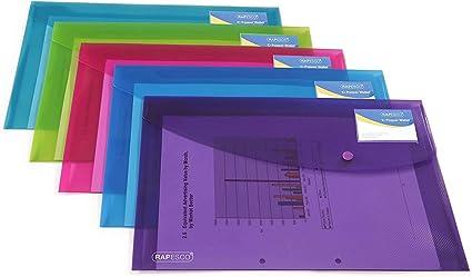 Rapesco documentos - Carpeta portafolios A4+ con soporte para tarjeta, colores traslúcidos. 5 unidades: Amazon.es: Oficina y papelería