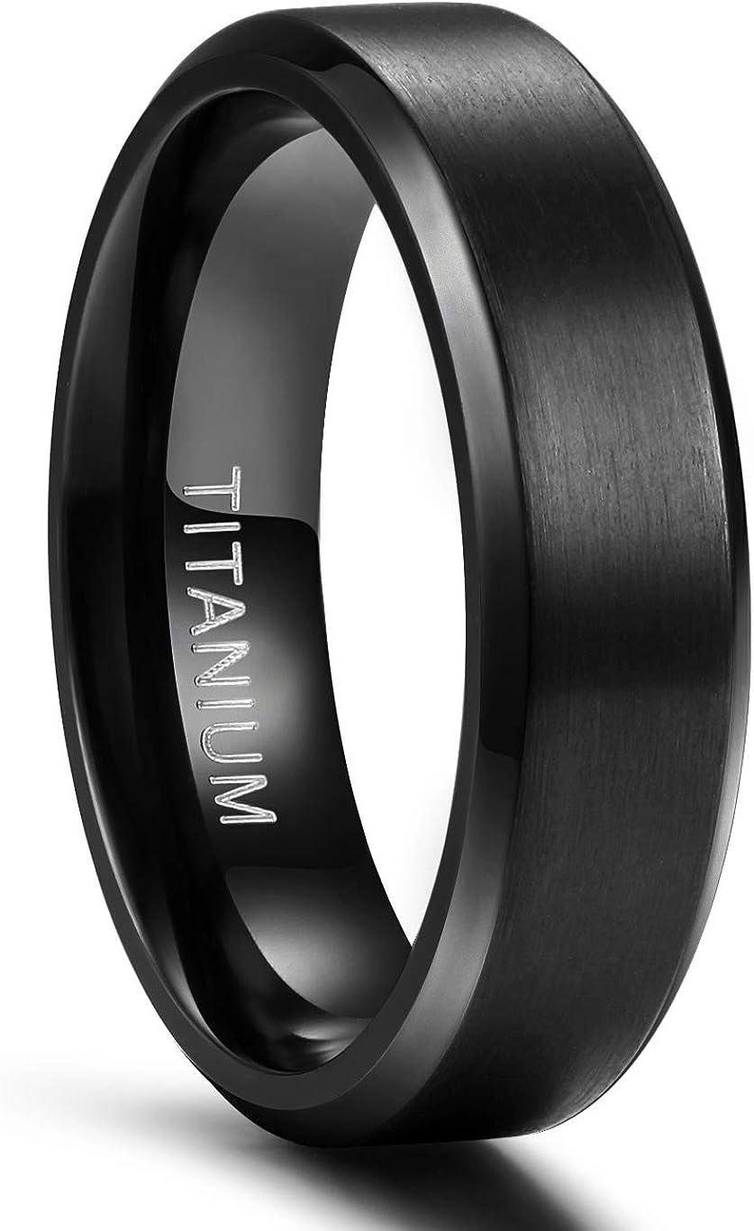 TIGRADE 6MM 8MM Titanium Ring Black Matte Wedding Engagement Band Comfort Fit Size 6-14