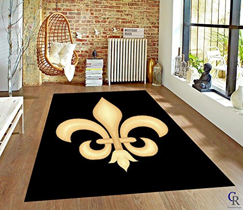 Amazon Com Champion Rugs Fleur De Lis Black Novelty Area Rug Carpet