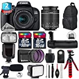 Canon EOS Rebel 800D/T7i Camera + 18-55mm IS STM Lens + Pro Flash + Battery Grip + Shotgun Microphone + LED Kit + 2yr Extended Warranty + 32GB Class 10 Memory Card - International Version