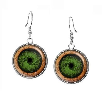 Green Zombie Eyes Pendant Necklace Walking Dead Earrings Jewelry Z Nation Zombies Birthday Gift Geek Geeky Gifts Nerd Nerdy Present