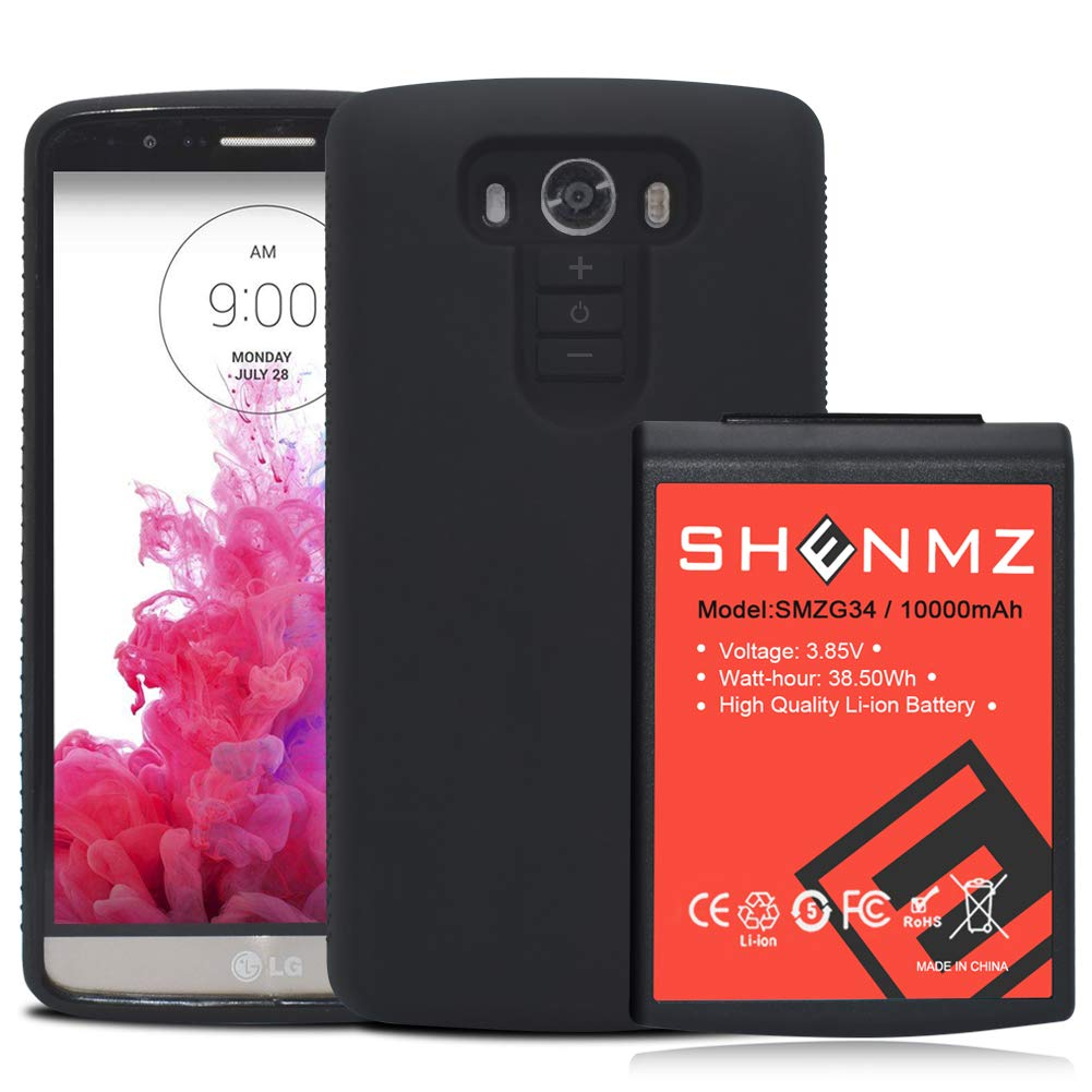 LG G3 Battery SHENMZ 10000mAh Li-ion Battery Replacement for LG G3 BL-53YH with Black Soft TPU Protection Case (Up to 3X Extra Battery Power) | LG G3 Extended Battery by SHENMZ