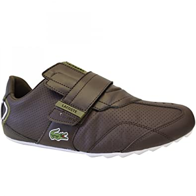 5e107c13d4d63f Lacoste Mens Genuine Trainers Slip on Loafers with Velcro Strap Real Leather  UK 7.5 (EUR