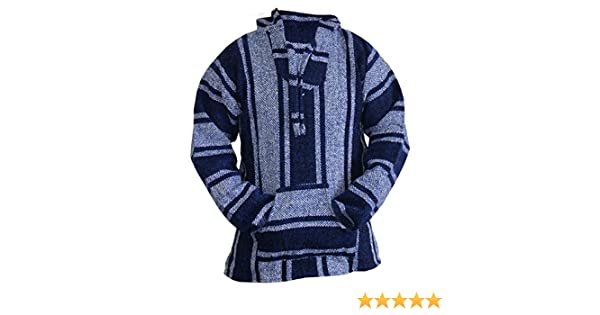 Amazon.com: Mexican Baja Hoodie Sweater Jerga Pullover Blue Unisex: Clothing