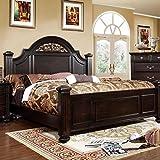 Syracuse Transitional Style Dark Walnut Finish Eastern King Size Bed Frame Set