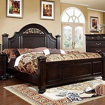 Amazoncom Syracuse Transitional Dark Walnut Queen Size Bed