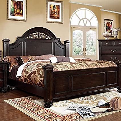 Amazon.com: 247SHOPATHOME IDF-7129EK Bed-Frames, King, Walnut ...