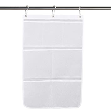 How High To Hang A Shower Curtain Rod.Quick Dry Hanging Bath Organizer Mesh Shower Caddy With 7 Pockets Hang On Shower Curtain Rod Liner Hooks Shower Organizer Bathroom Or Cruise