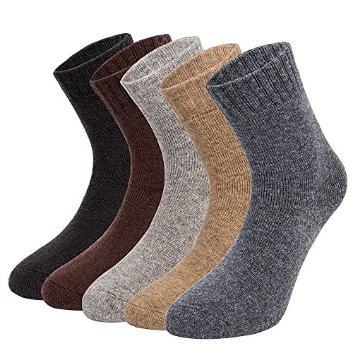 Mens Solid Winter Thermal Boot Socks Heavy Weight Wool Blend Cushioned Tube Hiking Work Crew Socks, (Heavy Wool Blend)