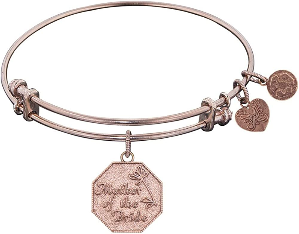Angelica Collection Non-antique Stipple Finish Brassmother Of the Bride Expandable Bangle