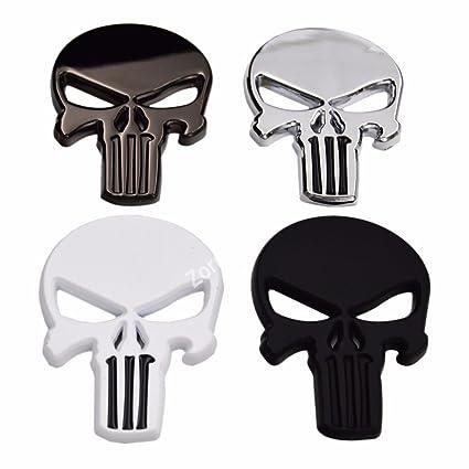 Amazoncom Chrome 3d Metal Skull Punisher Emblem Badge W Adhesive