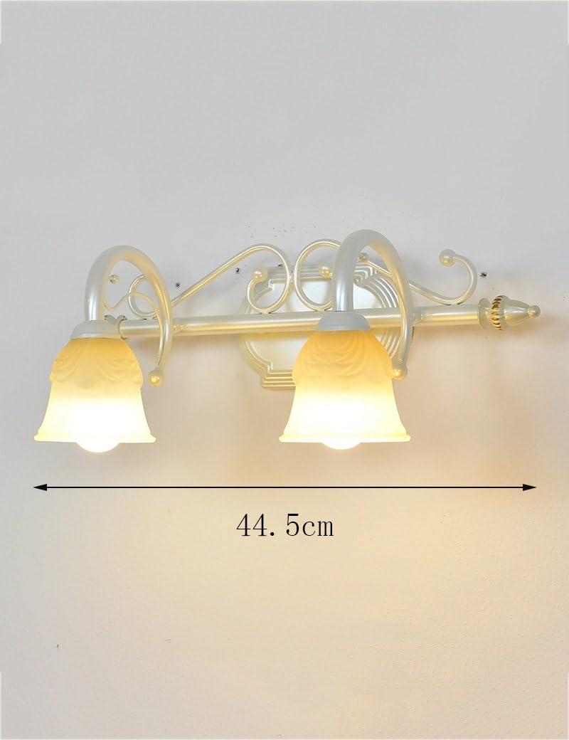 Modern/Zeitgenössische LED Wandleuchte Continental Eisen Retro Glas matt Lampenschirm Spiegel vorne Leuchten Badezimmer Kreative Make-up-Lichter Birne eingeschlossen (Farbe : A-44.5cm) B-44.5cm