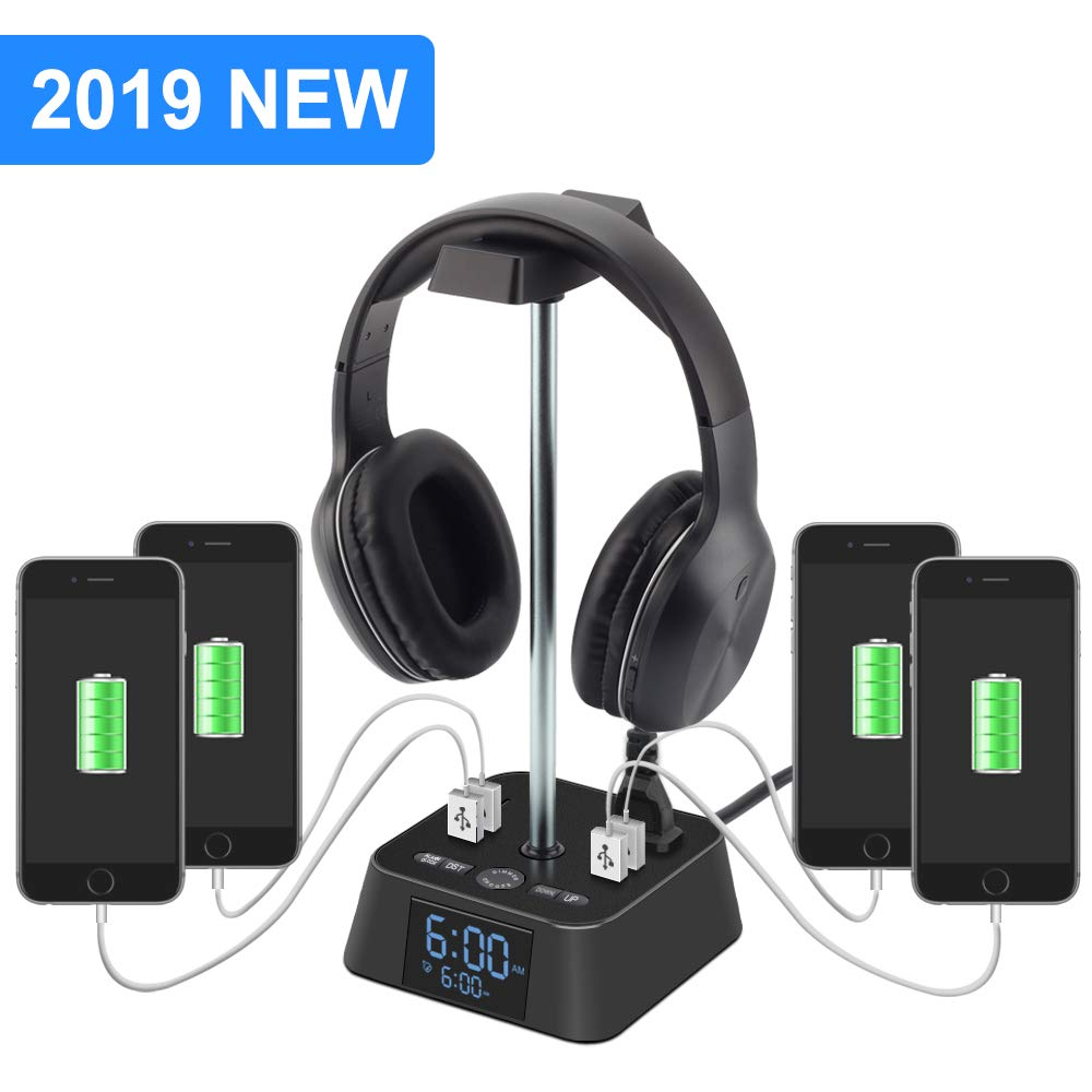 Headphone Stand with 4 USB Charger and 2 Outlet Desktop Headset Holder Hanger Bracket with LED Lamp Alarm Clock Base - Suitable for Gaming, DJ, Boyfriend Gift(Black)