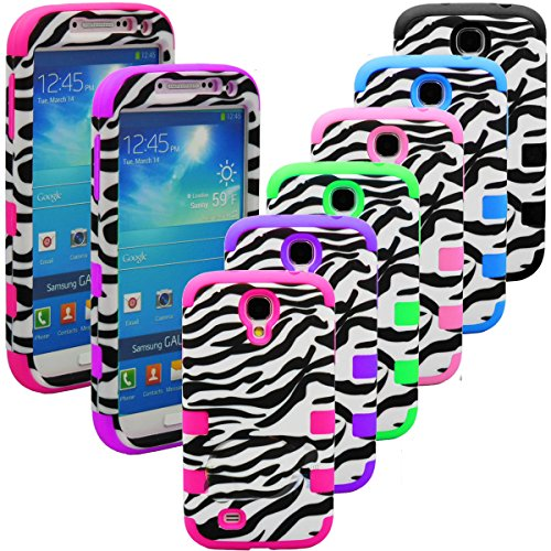 "myLife Classic Zebra Stripes Series (2 Piece Snap On) Hardshell Plates Case for the Samsung Galaxy S4 ""Fits Models: I9500, I9505, SPH-L720, Galaxy S IV, SGH-I337, SCH-I545, SGH-M919, SCH-R970 and Galaxy S4 LTE-A Touch Phone"" (Clip Fitted Front and Back Solid Cover Case + Rubberized Tough Armor Skin)"